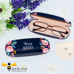 """Nan's Glasses"" Bumblebee and flowers navy coloured hard glasses case with cleaning cloth"