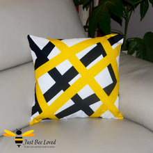 Load image into Gallery viewer, Black and yellow with white crisscross abstract pattern pillow scatter cushion bee inspired