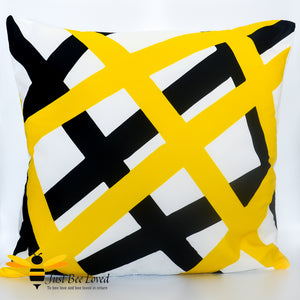 Black and yellow with white abstract pattern pillow scatter cushion bee inspired