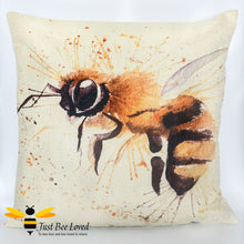 Load image into Gallery viewer, Scatter cushion featuring a watercolour image of a honey bee against splash background
