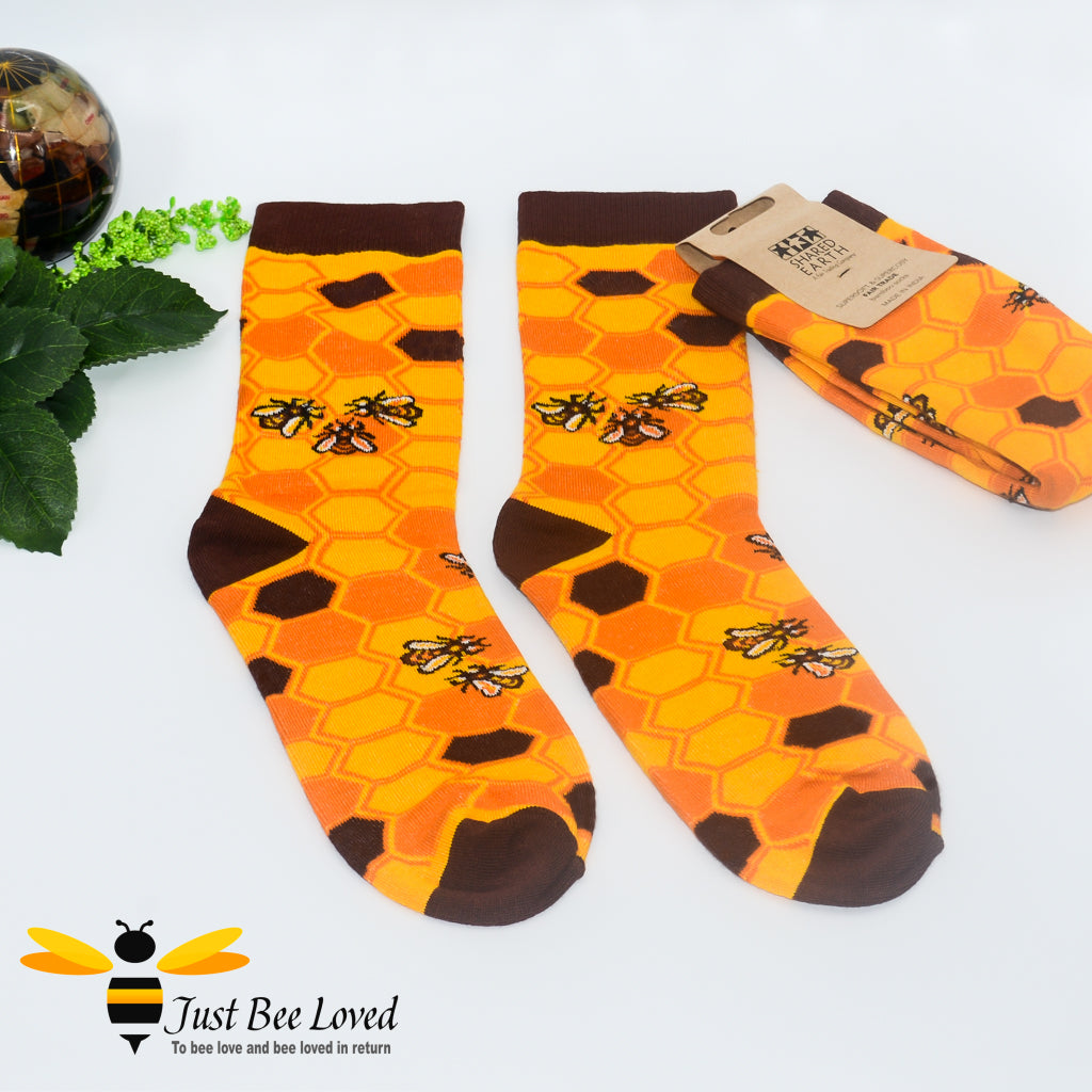 Shared Earth Collection Save our bees novelty socks made from bamboo. Hypo-allergenic and antibacterial. Gifts for men at Just Bee Loved