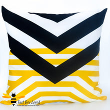 Load image into Gallery viewer, Black and yellow contemporary design scatter cushion bee inspired