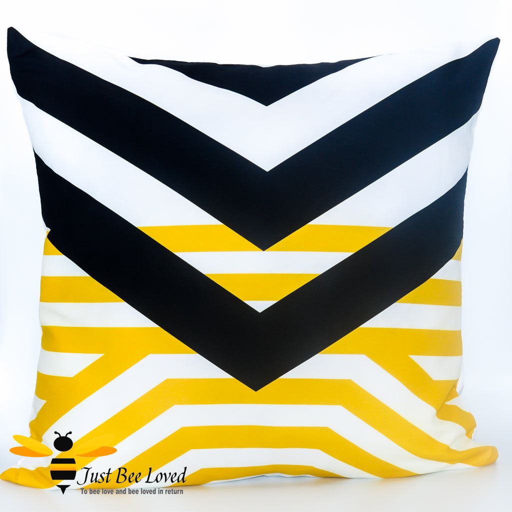 Black and yellow contemporary design scatter cushion bee inspired