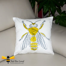 Load image into Gallery viewer, Scatter cushion featuring a contemporary artistic image of a honey bee drawing