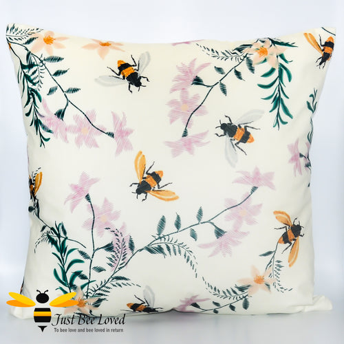 Soft and luxurious to the touch, large scatter cushion featuring embroidered like design image of flying bumblebees and flowers in cream