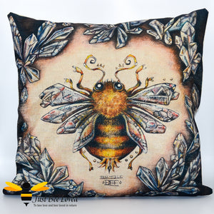 Magical Mystic Bumblebee design on woven linen scatter cushion