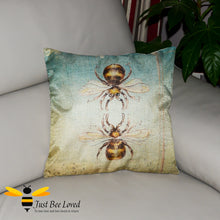 Load image into Gallery viewer, Twin honey bees design printed on woven linen scatter cushion
