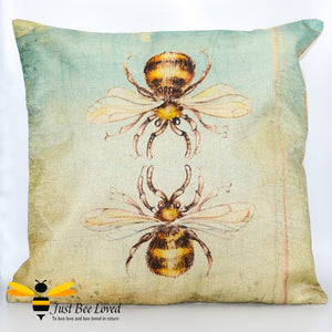Twin honey bees design printed on woven linen scatter cushion