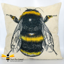 Load image into Gallery viewer, Large linen scatter cushion featuring a colourful sketch of a bumblebee against natural cream background