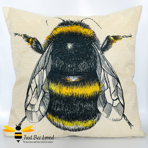 Large linen scatter cushion featuring a colourful sketch of a bumblebee against natural cream background
