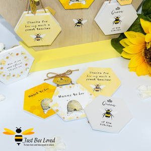 "Wooden Mini Gift Signs featuring ""Mommy to Bee"" ""Meant to Bee"" ""Queen Bee of the Kitchen"" ""Thanks for Bee-ing an Amazing Teacher"" ""Mum, I'd Pick you if you were a flower"" Bee Gifts"
