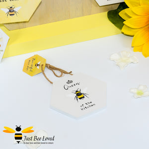 "Wooden Mini Gift Signs featuring ""Queen Bee of the Kitchen""  message bee Gifts"