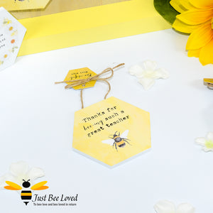 "Wooden Mini Gift Signs featuring ""Thanks for bee-ing such a great Teacher""  message bee Gifts"