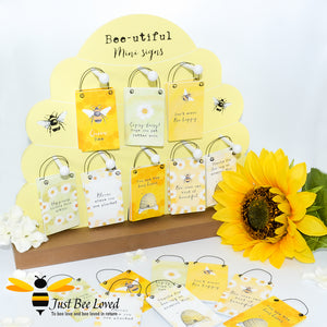 Sentimental wooden mini sign cards with bee related messages and designs