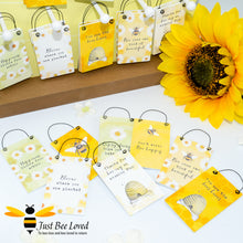Load image into Gallery viewer, Sentimental wooden mini sign cards with 8 bee related messages and designs