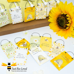 Sentimental wooden mini sign cards with 8 bee related messages and designs