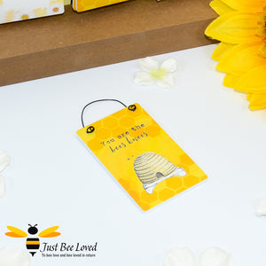 "Sentimental wooden mini sign card with bee related message ""You are the bees knees"" and designs"