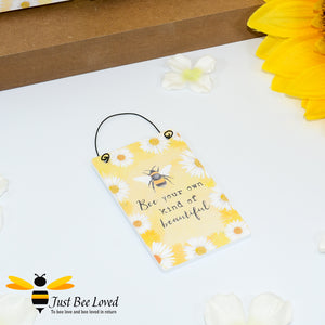 "Sentimental wooden mini sign card with bee related message ""Bee Your Own Kind of Beautiful"" and design"