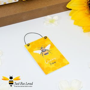 "Sentimental wooden mini sign card with bee related message ""Queen Bee"" and design"