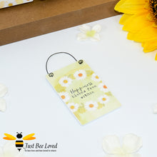 "Load image into Gallery viewer, Sentimental wooden mini sign card with bee related message ""Happiness Blooms from Within"" and design"