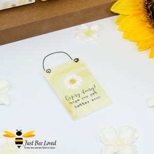 "Sentimental wooden mini sign card with bee related message ""Oopsy Daisy! Hope you get better soon"" and design"