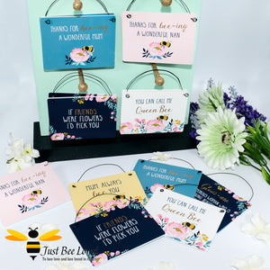 Sentimental wooden mini sign cards with 6 bee related messages and design