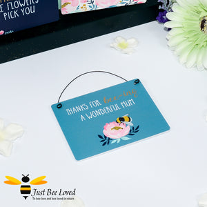 "Sentimental wooden mini sign card with bee related message ""Thanks for Bee-ing a wonderful mum"" and design"