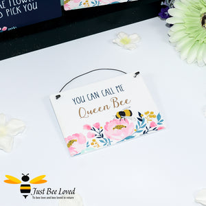 "Sentimental wooden mini sign card with bee related message ""You can call me Queen Bee"" and design"