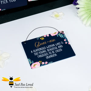 "Sentimental wooden mini sign card with bee related message ""Glam-ma, too beautiful and fabulous to be called grandma"" and bee and flowers design"