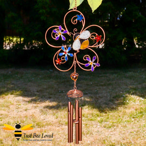 Hand crafted bronze coloured metal and glass resin bumblebee and flower wind chime and suncatcher