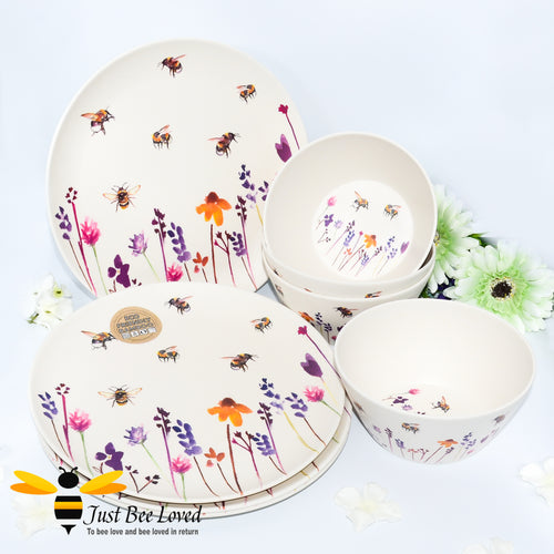 Jennifer Rose Busy Bees Eco Friendly Bamboo Dinner Plates and bowls 8 piece Set from the Leonardo Collection