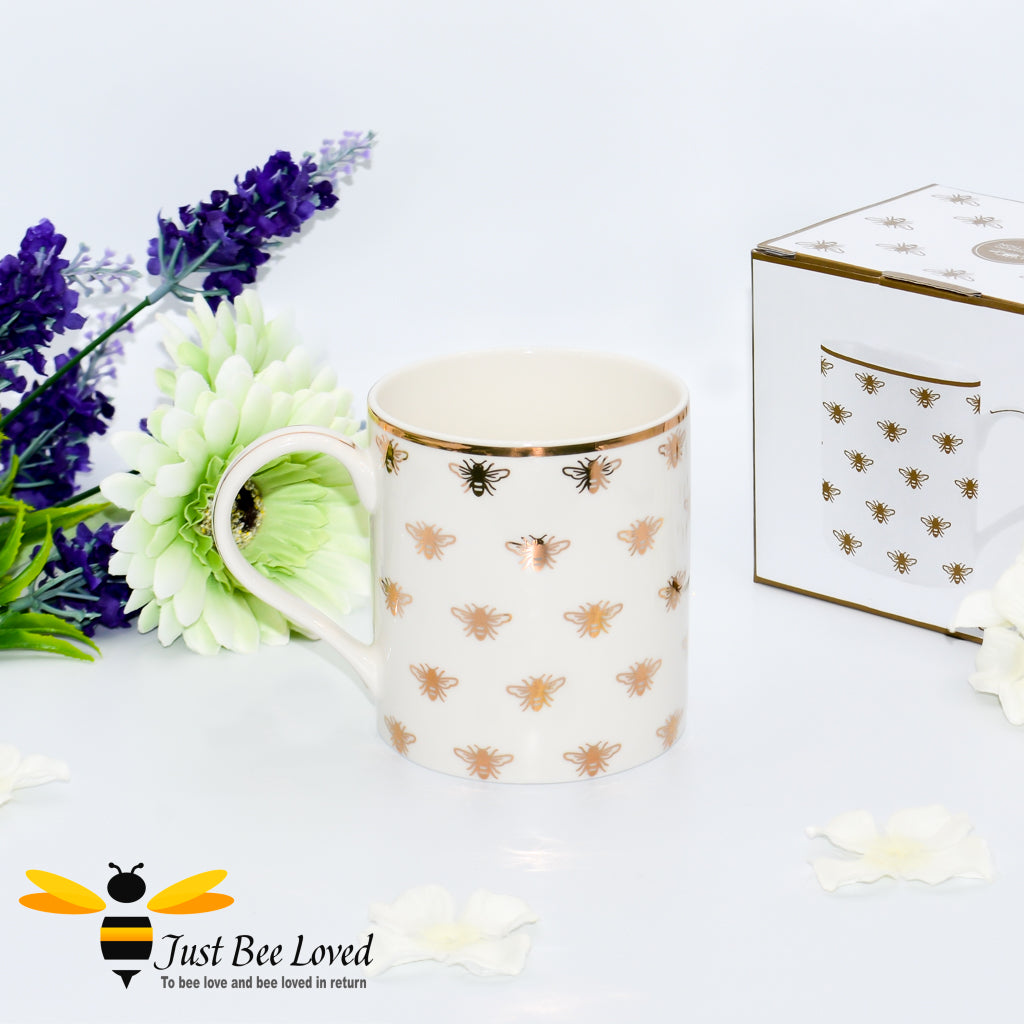 Luxurious ivory fine China tea coffee mug from the Leonardo Golden Queen Bee collection, gift box presented.