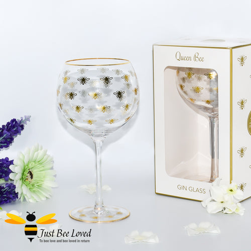 Gift boxed tall balloon stemmed gin glass with golden bees and gold rim from the Leonardo Queen Bee collection.