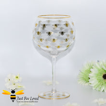 Load image into Gallery viewer, Queen Bee Tall Stem Gin Glass decorated with golden bees and gold rim from the Leonardo Collection