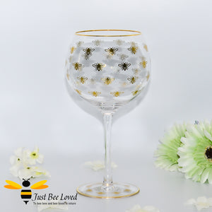 Queen Bee Tall Stem Gin Glass decorated with golden bees and gold rim from the Leonardo Collection