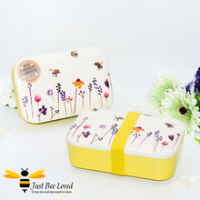 Load image into Gallery viewer, Bento bamboo eco friendly lunch box from the Jennifer Rose Busy Bees Collection from Leonardo.  Featuring a design of flying bumblebees in a field of flowers.