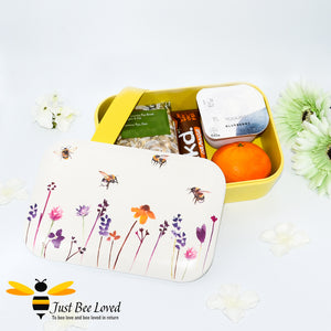 Bento bamboo eco friendly lunch box from the Jennifer Rose Busy Bees Collection from Leonardo.  Featuring a design of flying bumblebees in a field of flowers.
