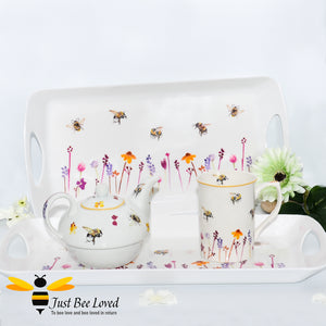 Jennifer Rose Busy Bees white serving tray featuring a watercolour design of bumblebees flying in a field of flowers, from the Leonardo Collection