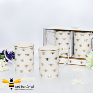 Part of the Leonardo Queen Bee range, sleek ivory fine China tea/coffee set of two mugs bee-utifully decorated with golden bees and gold rim.