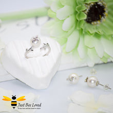 Load image into Gallery viewer, White Pearl & Bee Sterling Silver 925 Stud Earrings & Ring Jewellery Set