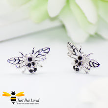 Load image into Gallery viewer, Sterling Silver & Black Zirconia Bee Stud Earrings