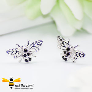 Sterling Silver & Black Zirconia Bee Stud Earrings