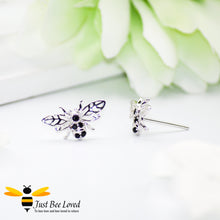 Load image into Gallery viewer, Sterling Silver & Black Zircon Bee Stud Earrings