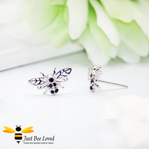 Sterling Silver & Black Zircon Bee Stud Earrings