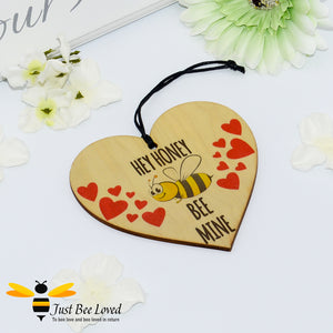 """Honey Bee Mine"" Wooden Love Heart Mini Hanging Sign featuring a bumblebee and love hearts and message"