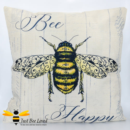 Large scatter cushion featuring a classic design of a golden bee amongst beautiful navy colour calligraphy and the joyful message