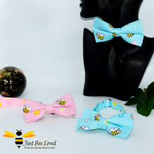 Load image into Gallery viewer, Men's novelty bee themed pre-tied cotton bow ties with bees in blue or pink.