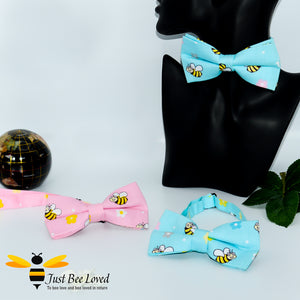 Men's novelty bee themed pre-tied cotton bow ties with bees in blue or pink.