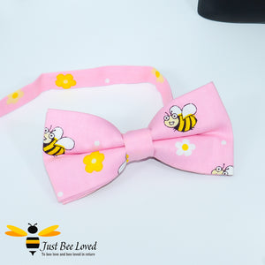 Men's novelty bee themed pre-tied cotton bow ties with bees in pink.