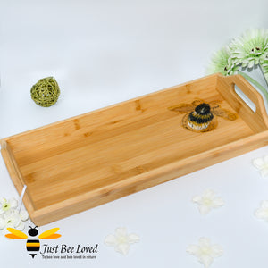 bamboo serving tray hand-painted by British artist Joanna Williams; featuring a painting of a bumblebee